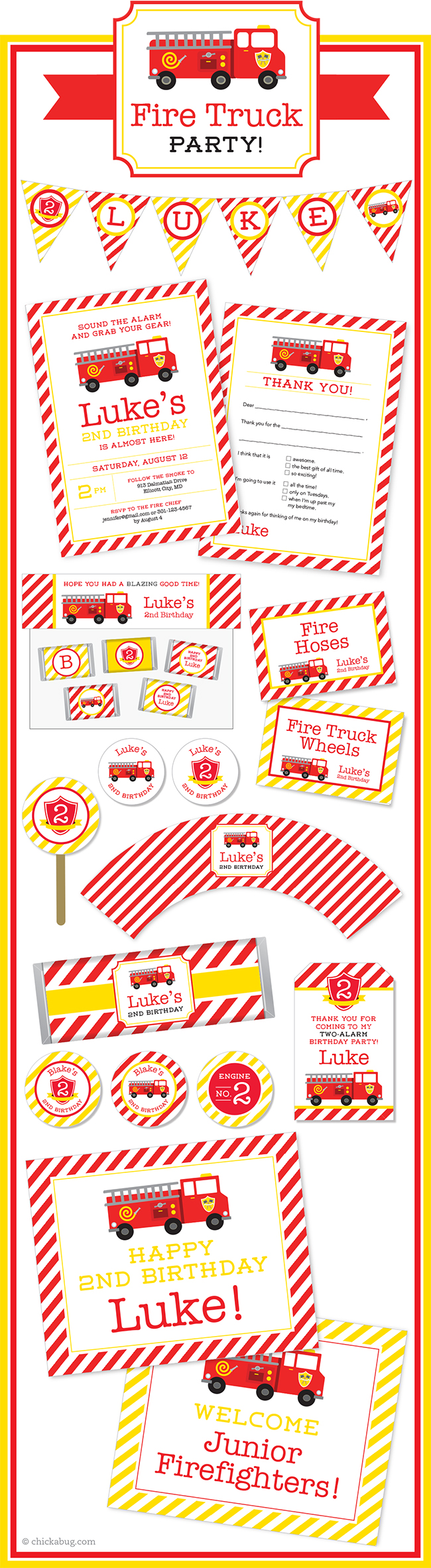 Fire truck theme party paper goods & printables from Chickabug! Super cute for a fire truck party! : )