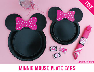 Free printable Minnie Mouse ears for plates
