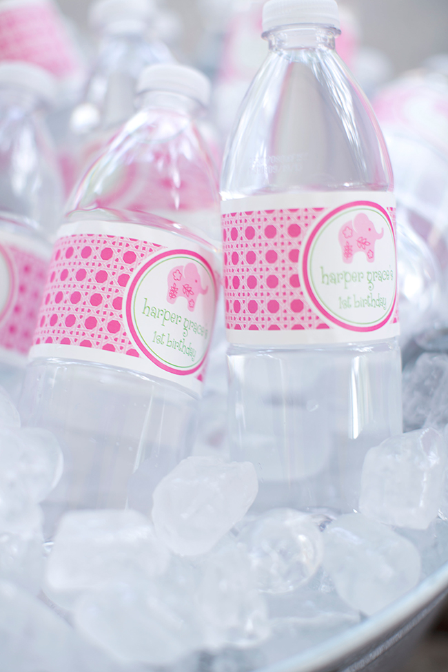 Lilly Pulitzer elephant themed first birthday party - water labels from Chickabug