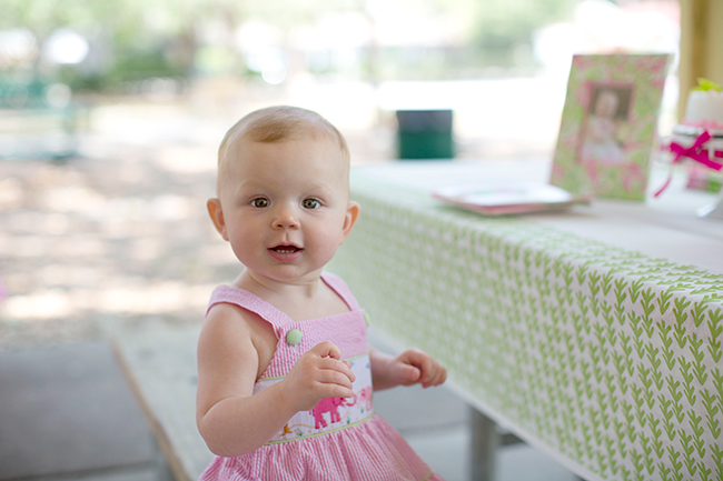 Lilly Pulitzer elephant themed first birthday party