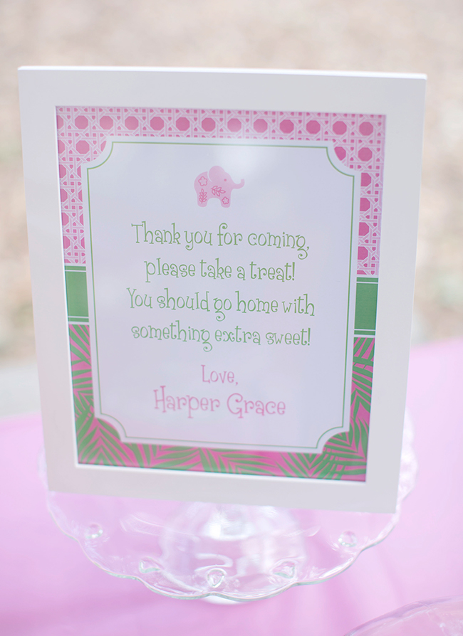 Lilly Pulitzer elephant themed first birthday party - printables from Chickabug