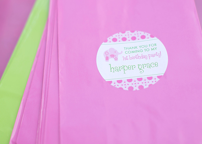 Lilly Pulitzer elephant themed first birthday party - stickers from Chickabug