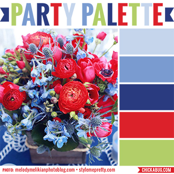 Party Palette: Color inspiration in dusty blues, red, and a hint of green #colorpalette