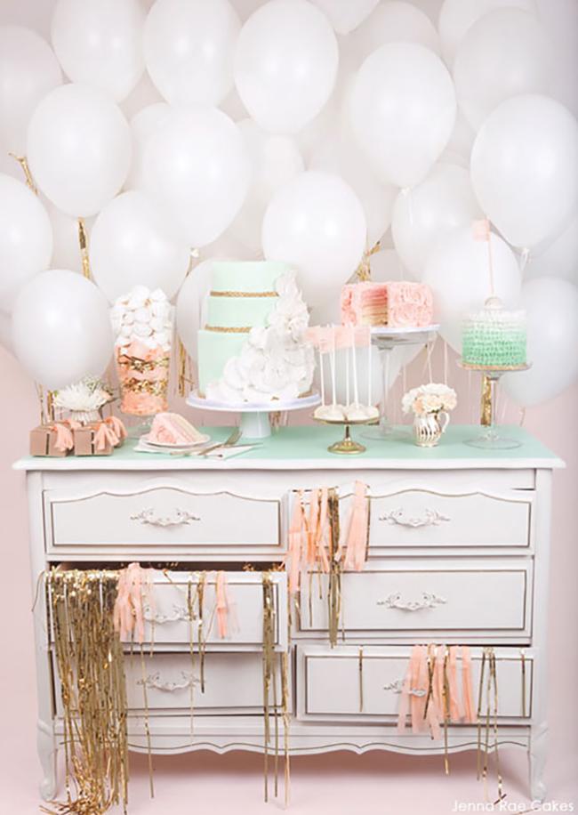 White balloon backdrop