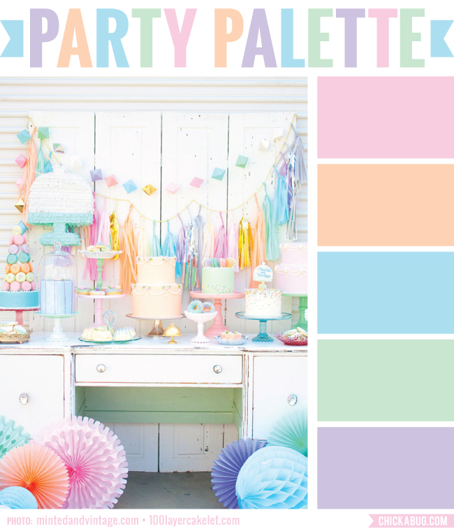 Sorbet-colored dessert table from Minted & Vintage #colorpalette