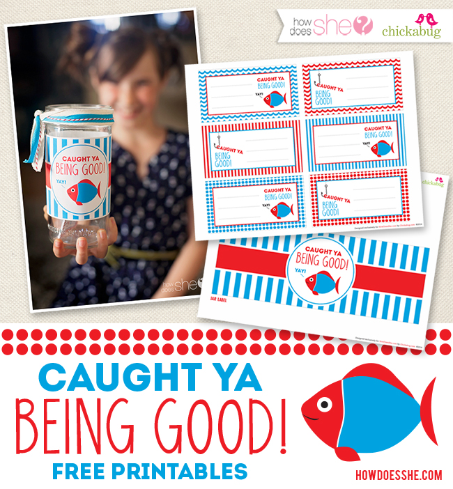 """Caught ya being good"" printables for kids. An easy, fun, and flexible rewards system for good behavior!"