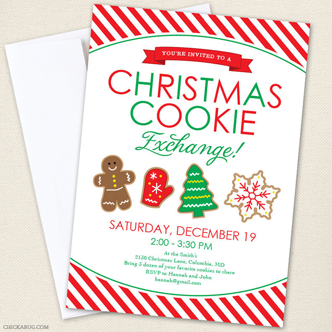 Christmas Cookie Exchange invitations from Chickabug