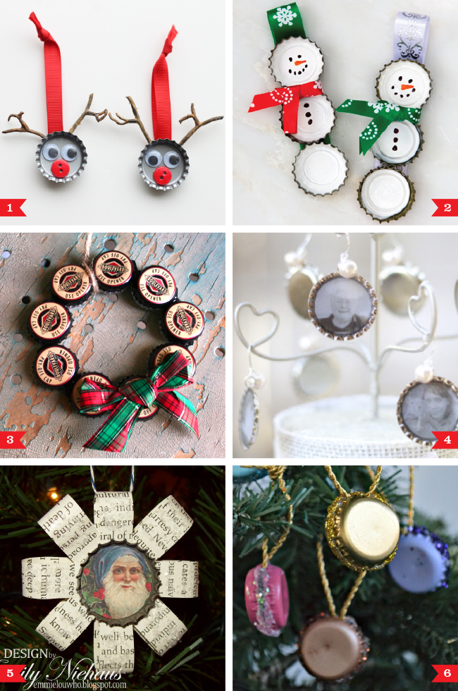 Christmas Ornament Tops.Diy Bottle Cap Christmas Ornaments Chickabug
