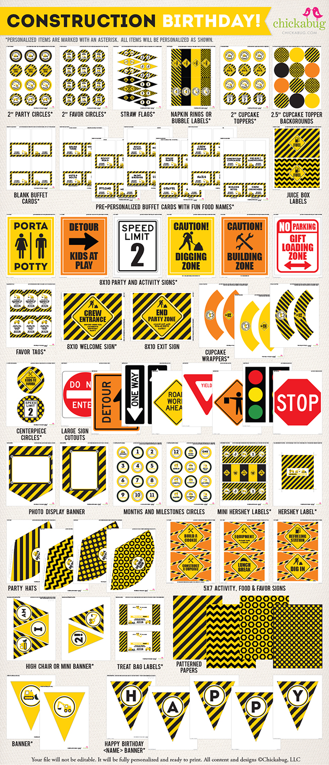 graphic relating to Free Printable Construction Signs identify Large structure occasion printable package - 75+ internet pages of
