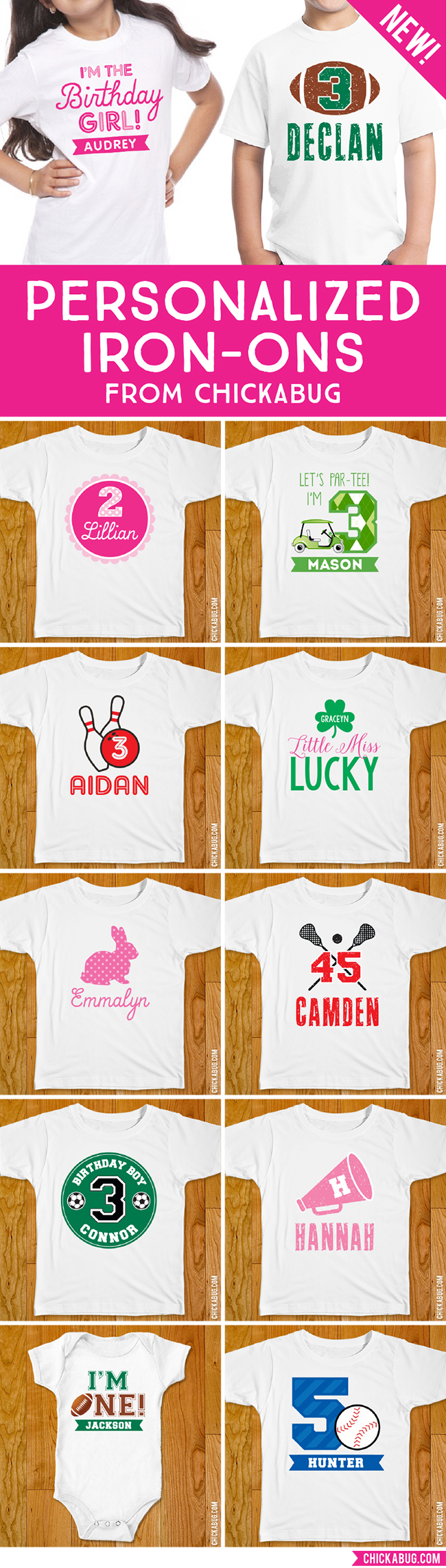 Personalized iron-on shirt designs for birthdays, holidays, sports teams, and more! At Chickabug.com :)