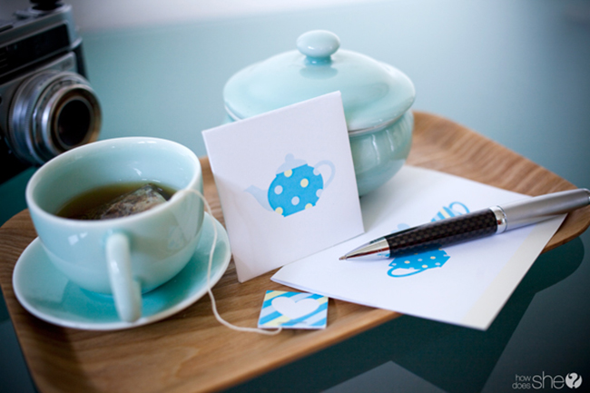 "Free ""tea for two"" printables"