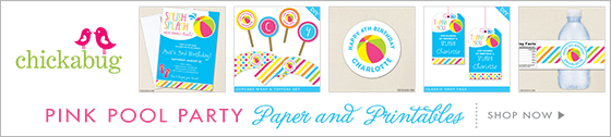 Pool party in PINK or BLUE! Invitations, water labels, stickers, DIY party printables and lots more from Chickabug.com
