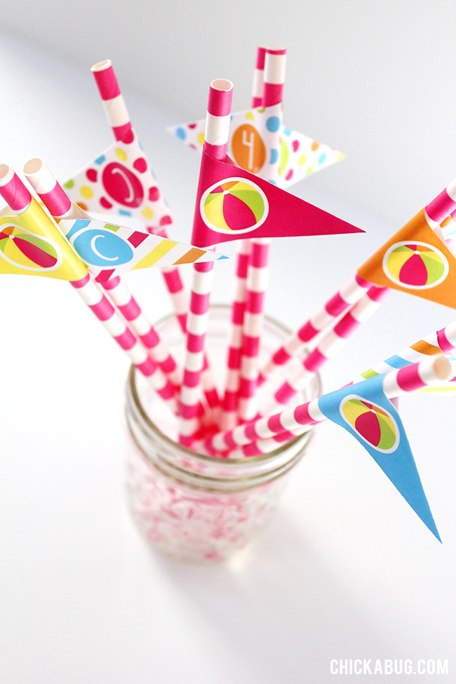 Pool party straws & napkins  - printables from Chickabug in PINK or BLUE!