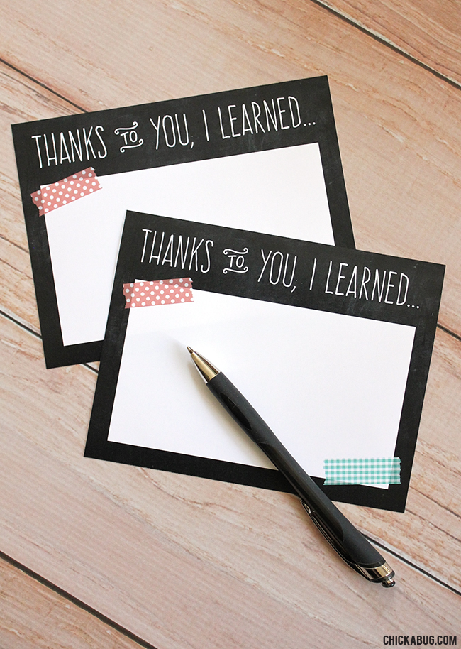 photograph regarding Printable Notecard referred to as Totally free printable trainer appreciation notecards Chickabug