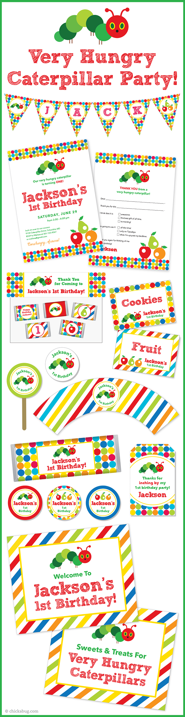 Very Hungry Caterpillar theme party! Invitations, water labels, stickers, DIY party printables and lots more from Chickabug.com