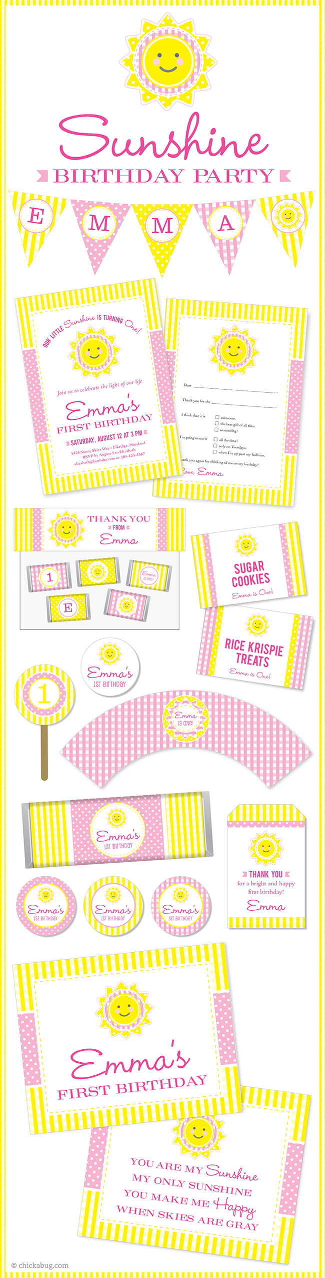 Sunshine theme party! Invitations, water labels, stickers, DIY party printables and lots more from Chickabug.com