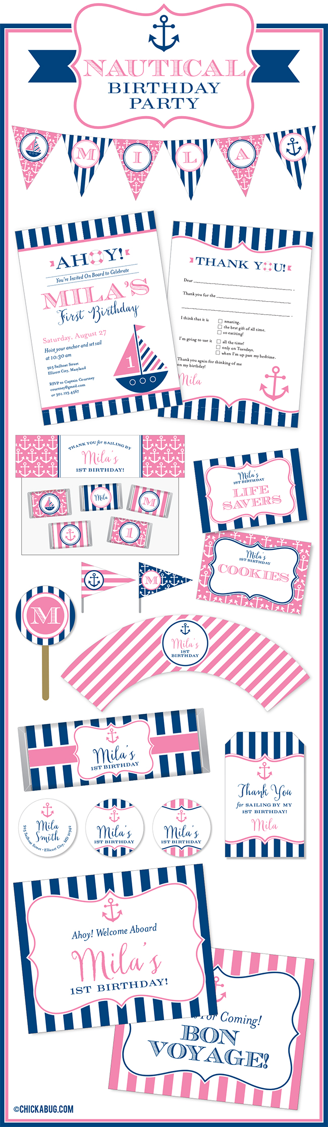 PINK nautical theme birthday party paper goods & printables from Chickabug. LOVE!