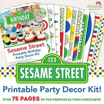 Sesame Street printable party decor kit from Chickabug. Over 75 pages of fun designs for your party! Takes ALL the guesswork out of food, games, and decor - everything is included!!