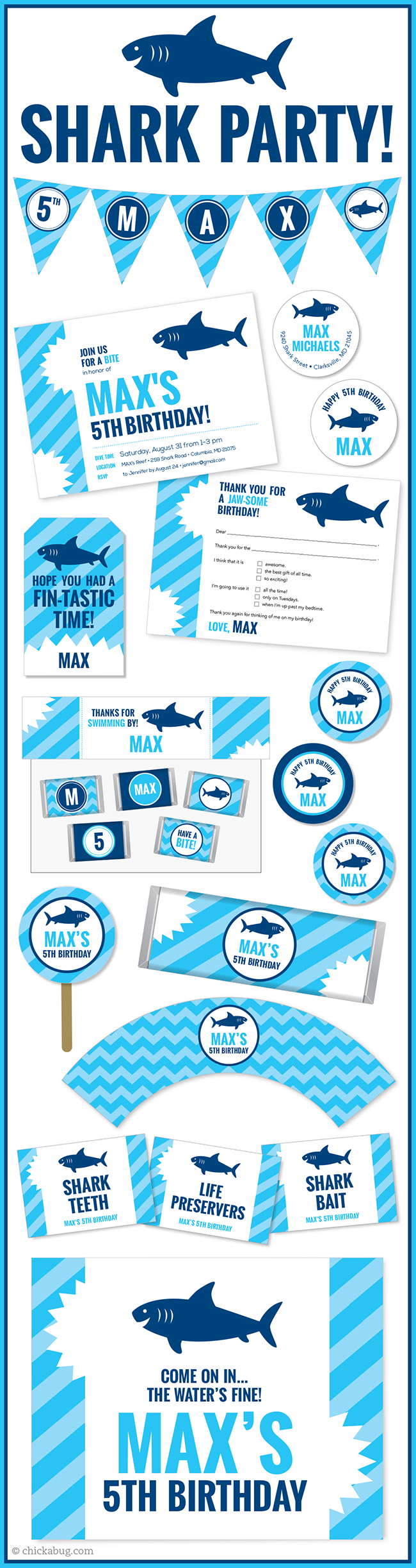 Shark Theme Party Invitations Water Labels Stickers DIY Printables And Lots