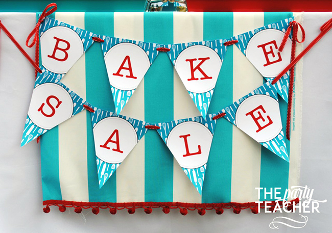 Adorable bake sale! Printable banner from Chickabug