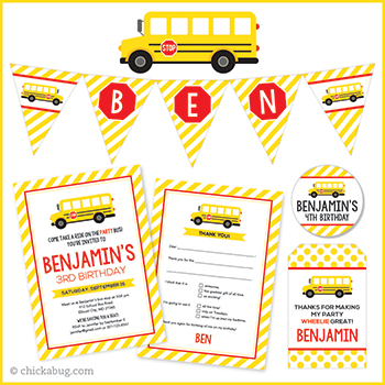 School bus theme birthday party! Invitations, water labels, stickers, DIY party printables and lots more from Chickabug.com