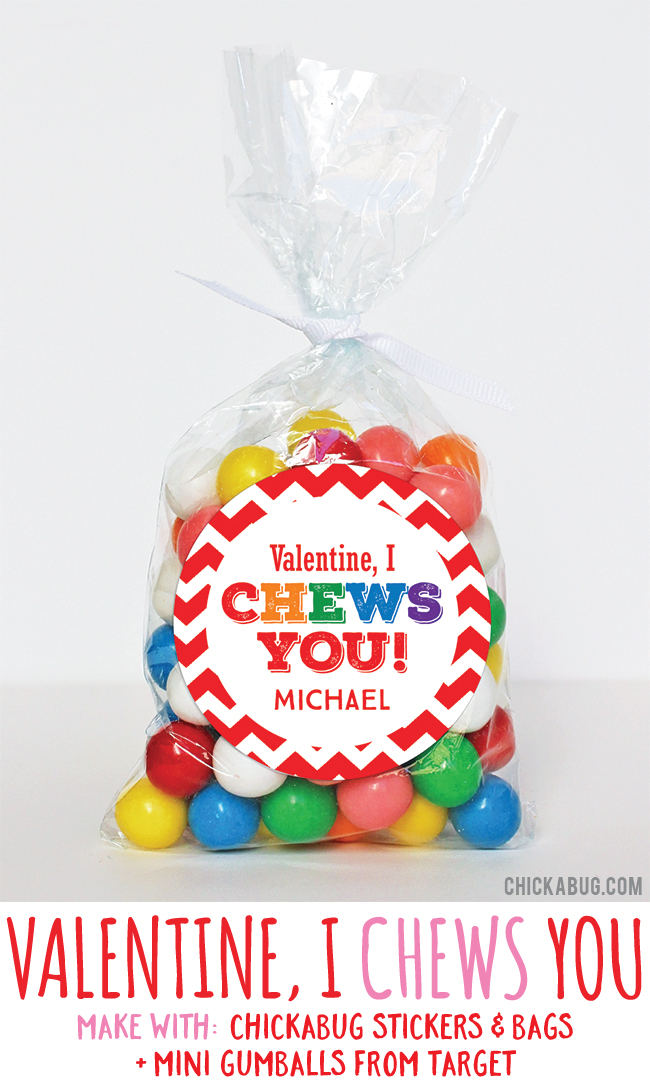 Adorable Valentine's gifts! Super cute for kids to hand out at class. All you need are stickers and bags from #Chickabug plus gumballs. EASY!