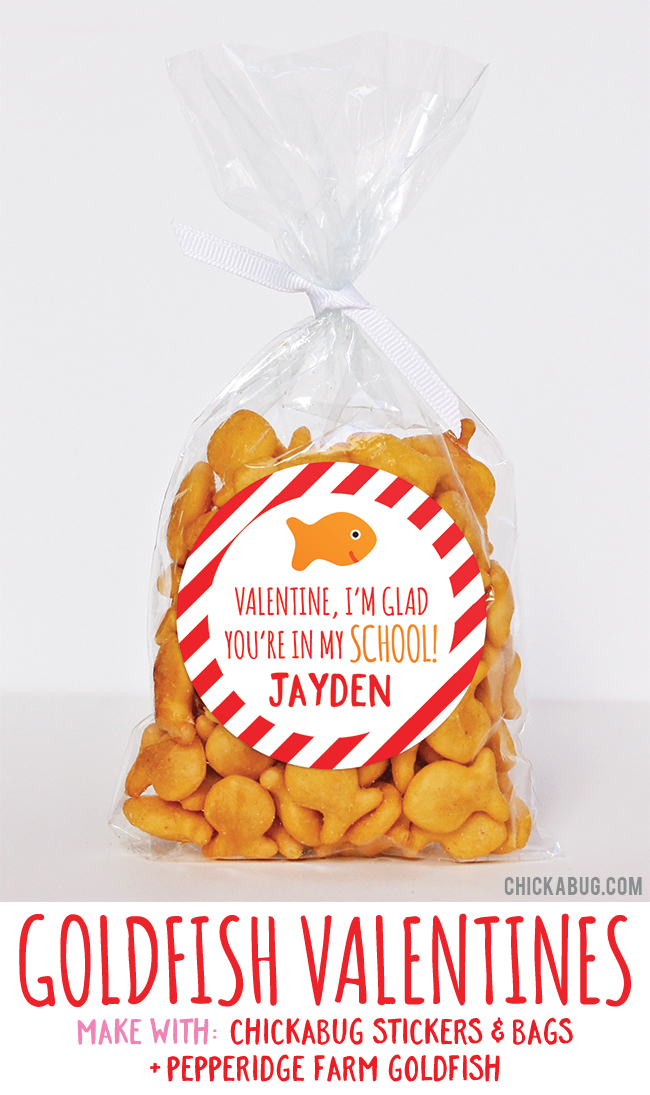 Adorable Valentine's gifts! Super cute for kids to hand out at class. All you need are stickers and bags from #Chickabug plus goldfish crackers. EASY!