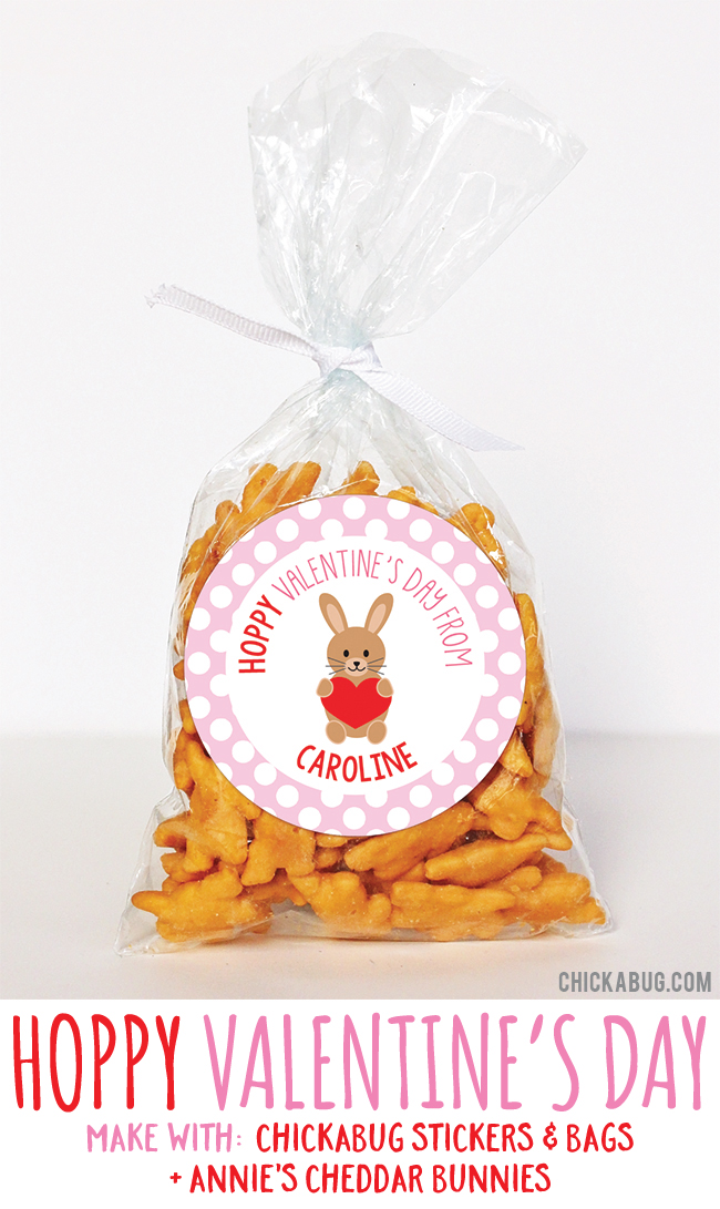 Adorable Valentine's gifts! Super cute for kids to hand out at class. All you need are stickers and bags from #Chickabug plus cheddar bunnies. EASY!
