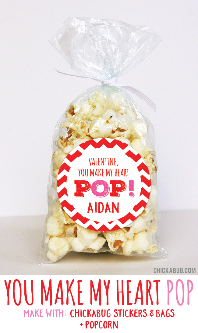 Adorable Valentine's gifts! Super cute for kids to hand out at class. All you need are stickers and bags from #Chickabug plus popcorn. EASY!