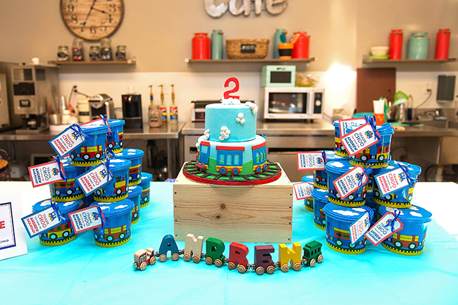 Train theme birthday party. Choo choo, he's turning two!