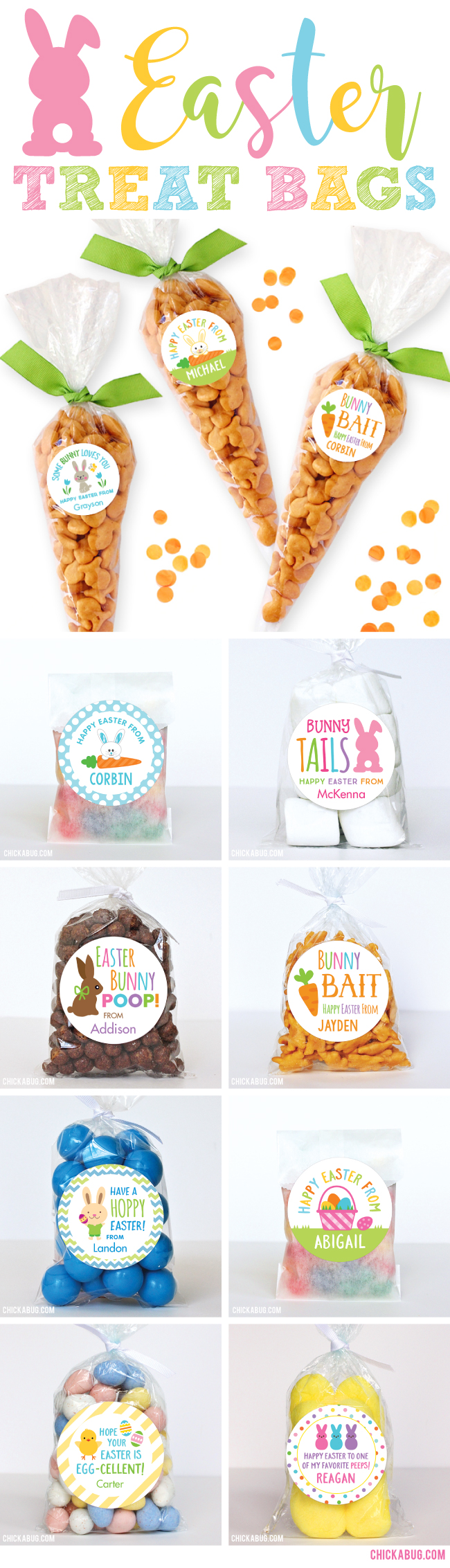Adorable Easter stickers & treat bags! Get both at www.chickabug.com/easter