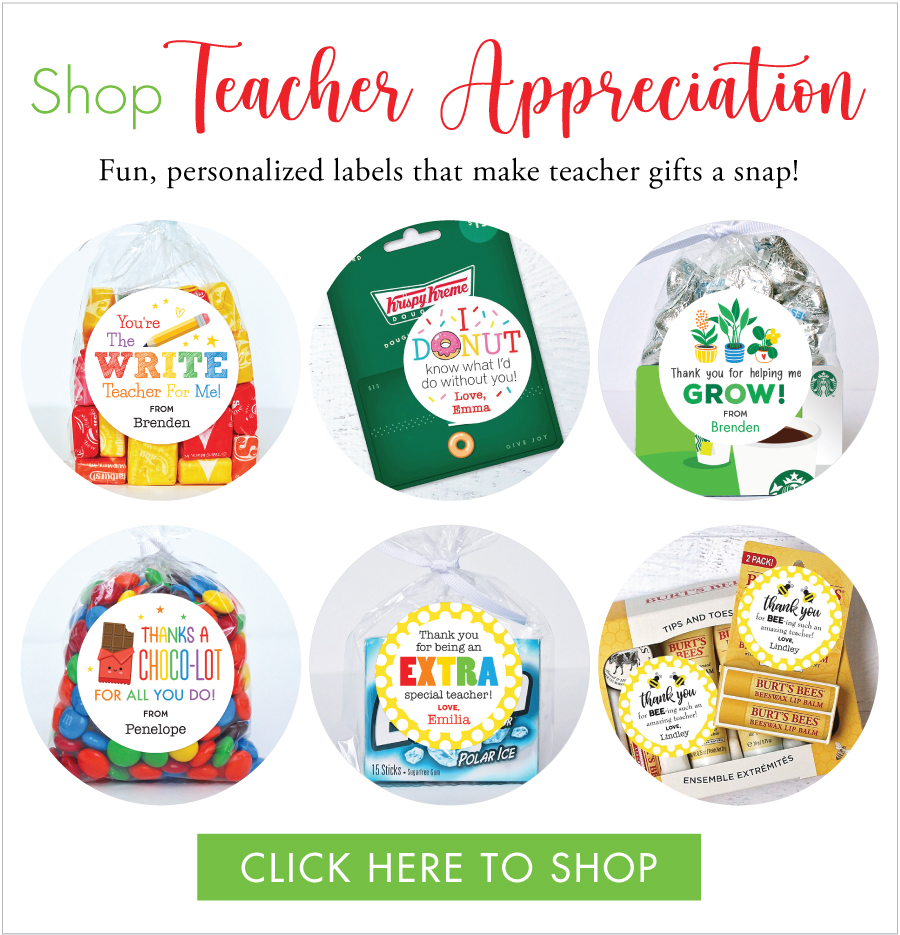 Fun & fabulous Teacher Appreciation gift labels at Chickabug.com