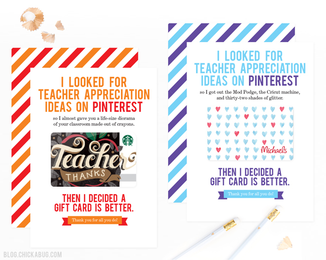 Free printable teacher appreciation cards. Easy and FUNNY! Always a huge hit with teachers!