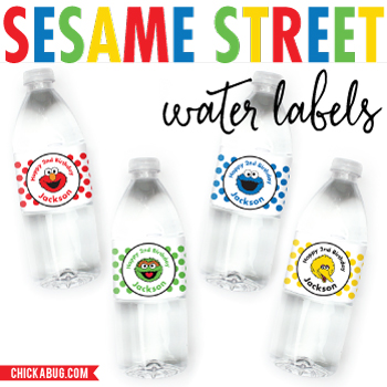 Sesame Street birthday water labels! Elmo, Oscar the Grouch, Cookie Monster & Big Bird
