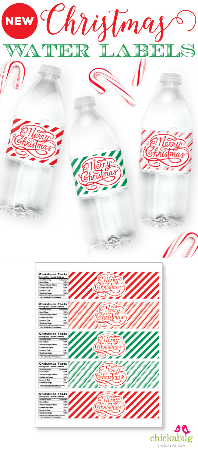 New Christmas Water Labels Printed And Shipped Or Instant Download
