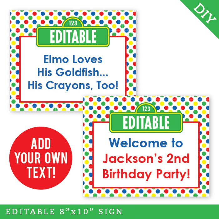 Sesame Street Party Editable Printable Signs (INSTANT DOWNLOAD)