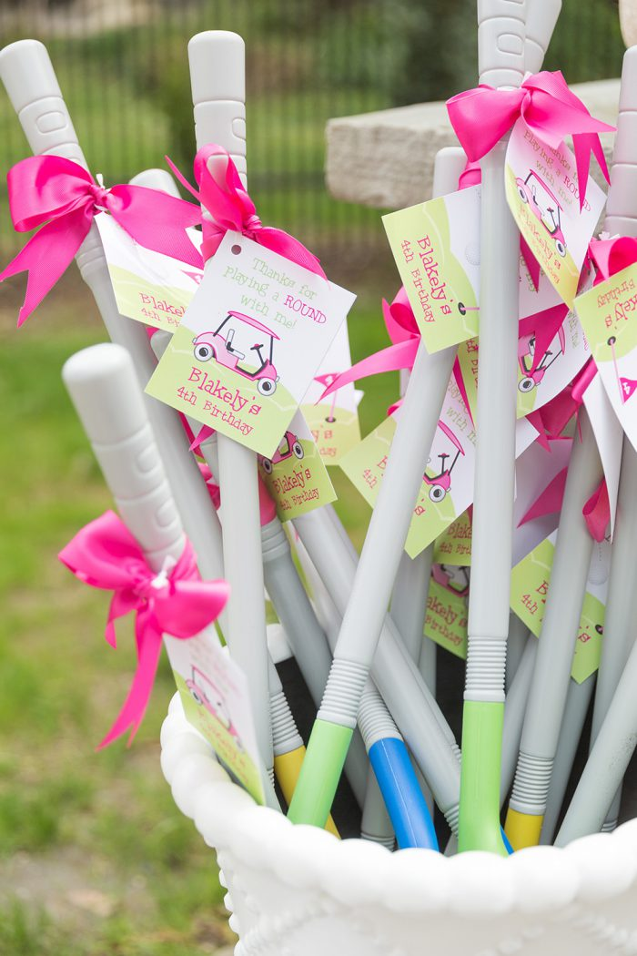 Pink golf birthday party - DIY printable favor tags from Chickabug