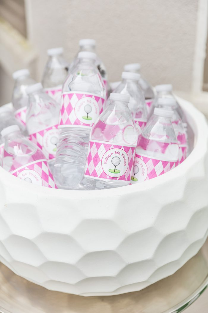 Pink golf birthday party - personalized water labels from Chickabug
