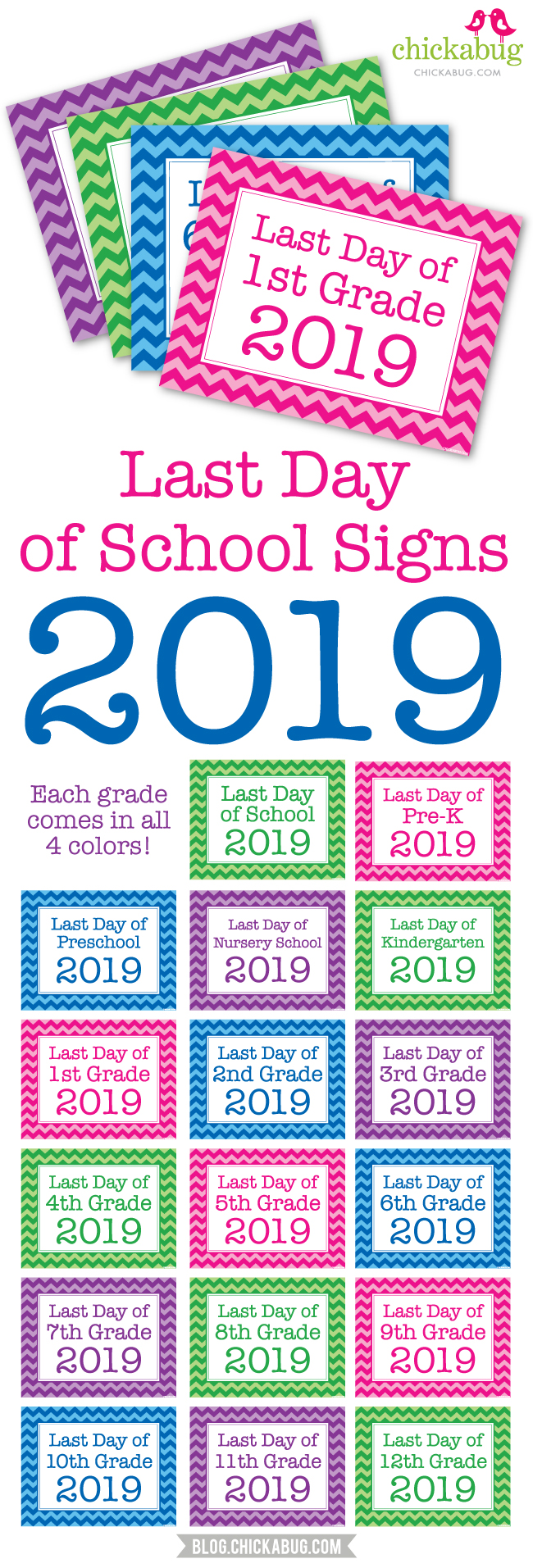graphic regarding Last Day of Preschool Sign Printable named Ultimate Working day of College Signs and symptoms 2019 Chickabug