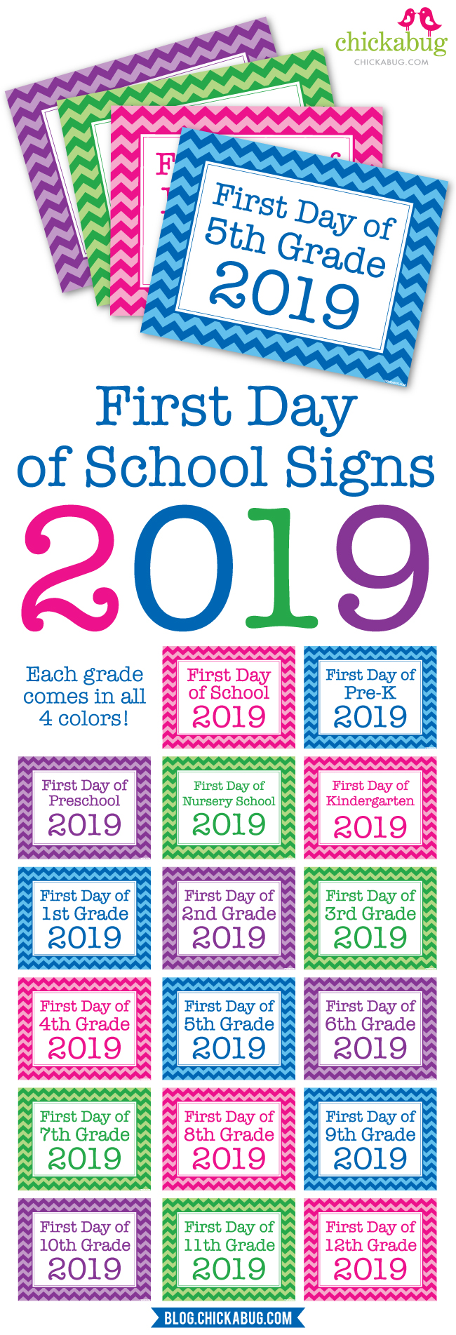 Free printable signs for the first day of school 2019