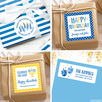 Adorable Hanukkah gift stickers and address labels, now available at Chickabug!
