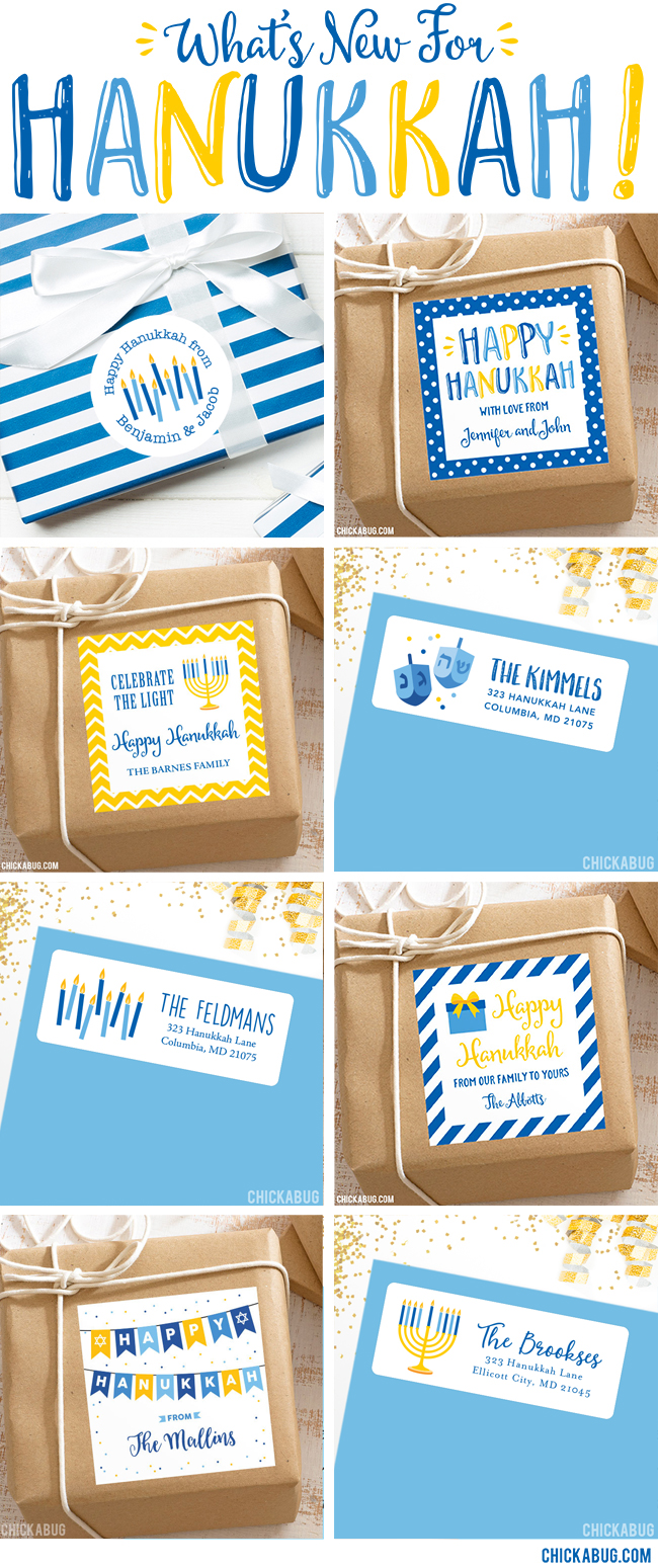 Hanukkah gift stickers and address labels, now available at Chickabug!